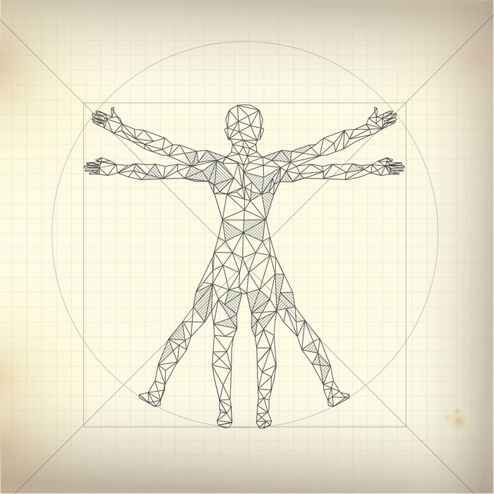 Concept of scientific propotion, illustration of Leonardo Da Vinci Vitruvian Man about human anatomy
